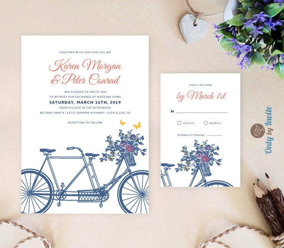 Printable Tandem Bicycle Wedding Invitation By OnlybyInvite
