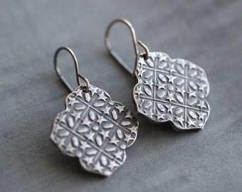Sterling Silver, Moroccan Earrings, Dangle Earrings, Metal Work, PMC Earrings, Embossed, Rustic, Casual Everyday Jewelry