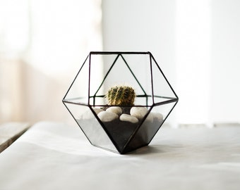 "FREE SHIPPING - geometric glass terrarium ""cuboctahedron"" - handmade glass terrarium - planter for indoor gardening"
