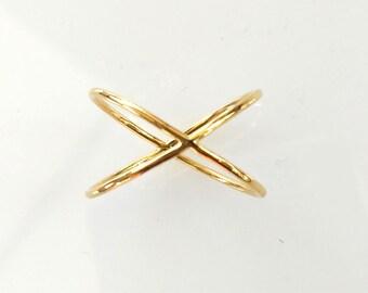 Gold ring '2 Circles', solid gold