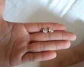 silver cherry flower stud earrings