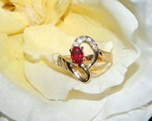 Unique Ifrit Djinni inspired vessel - Vintage genuine Gold Ring Sz 7