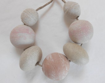 Treading Softly Natural Pebble Beads Ceramic Bead Set Handmade
