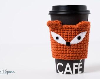 Fox cup cozy, fox mug cozy made with felt applique, coffee gift, office gift