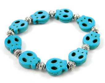Turquoise Flat Skull Bracelet with Silver Accent Beads (Crafted In The USA)