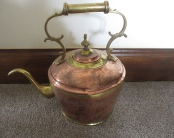 Antique Large Copper and Brass Tea Pot Kettle