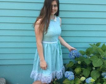 Mint Eyelet Dress Upcycled Mori Girl Fairytale Enchanting