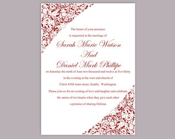 Wedding Invitation Template Download Printable Wedding Invitation Editable Wine Wedding Invitation Elegant Red Wedding Invitation Invite DIY