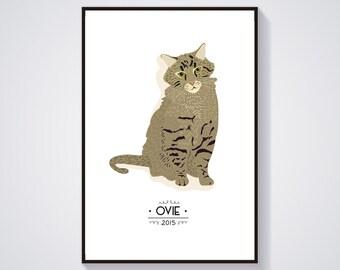 Custom cat Portrait - Individual cat portrait - custom personalized illustration - Print / Poster A4