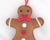 Mr Gingerbread Man, Felt Christmas Ornament Decoration
