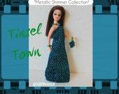 Dawn Doll Clothes Blue n' Green Lurex Gown + Purse + Jewelry - Custom Fashion - by dolls4emma