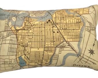 City of Ottawa Vintage Map Pillow - FREE SHIPPING