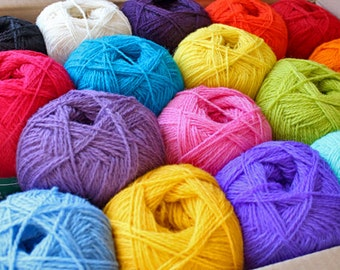 WOOL YARN assorted color mix  17balls + free shipping
