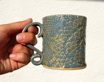 blue ceramic coffee mug, hand formed cup with lace, tableware, hand built drikware, personalized, custom, gift idea for mom