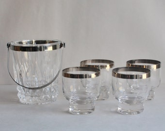 Vintage Crystal Glass  Ice Bucket With Matching Platinum Rim Glasses