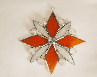 Stained Glass Gold Snowflake Suncatcher