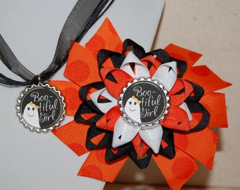 Halloween Ghost Bow and Necklace Set