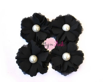 4 Black Fabric with Pearl Flowers- DIY Headband Flowers- DIY Headbands- Embellishment...Button