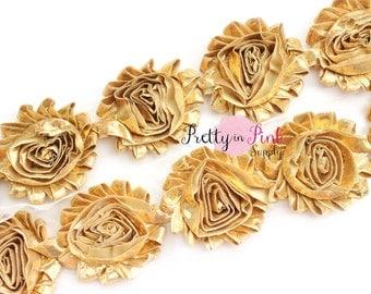 SHINY GOLD Shabby Flowers- 1/2 Yard or 1 Yard- Shabby Chiffon Trim- Wholesale Shabby Flowers- Shabby Chic- Shabby Rose Trim