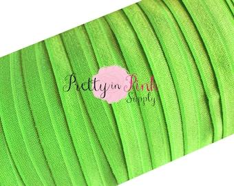 "LIME GREEN Foldover Elastic 10 Yards 5/8"", Solid FOE, Satin Elastic, Elastic Headband, Green Foe"