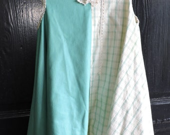 Mint Green and Cream Plaid Handkerchief Tunic