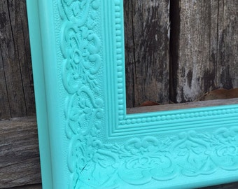 Turquoise 11x14 Frame, Ornate Picture Frame, Shabby Chic, Wide, Chunky Frame, Not Distressed,Wedding Nursery #1556 (Los Angeles)