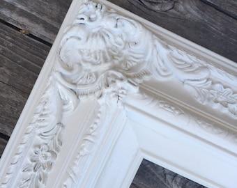 White 11x14 Picture Frame, Baroque, Wedding Frame,Wide Chunky Frame,Ornate Wedding Frame, Nursery, Photo Prop #SC(Los Angeles)