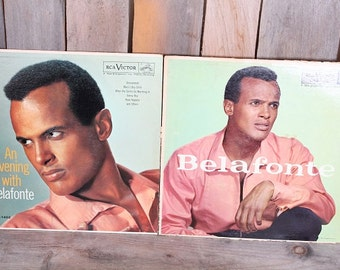 Pair of 1950s Harry Belafonte Record Vinyl Albums Self Titled and An Evening with Belafonte