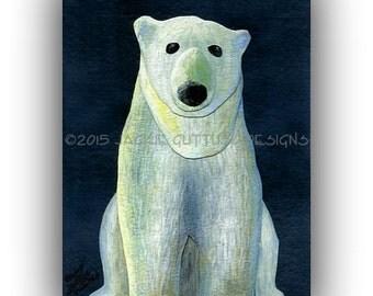 "Polar bear art, 5 x 7"" Giclee print, Bear nursery, Winter nursery, Arctic animal collage, White bear, Print of acrylic painting, Cabin art"