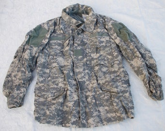 Vintage Original US Army Field Jacket, Digital Camouflage, Size Large Regular Men's
