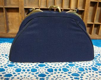 Vintage Navy Blue Handbag