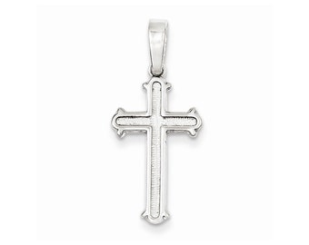Sterling Silver Polished and Texture Center Finish Cross Pendant