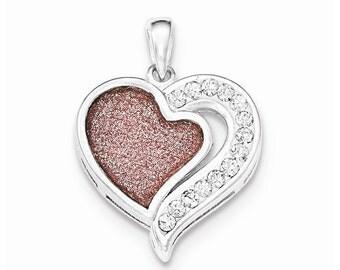 Sterling Silver CZ Pink Laser Glitter Texture Heart Pendant