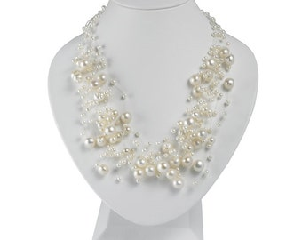 14 Strand Multi Size, Floating White Pearl Necklace