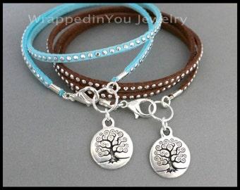 Family TREE of Life Bracelet or Choker Necklace - Boho Multi Wrap Faux Suede Studs Studded Stackable Bangle Bracelet - USA