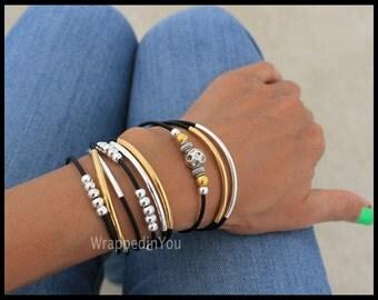 Black Boho Leather Wrap Bracelet - Adjustable Cascading Silver n Gold Tubes Genuine LEATHER Triple Wrap Beaded Bangle Bracelet - USA - 769 L