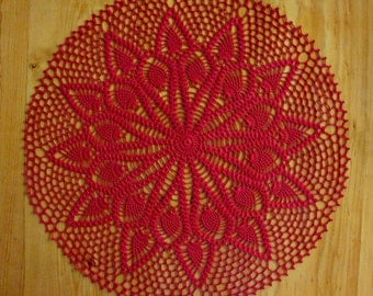"22 1/2"" Doily Double Pineapple Hand Crocheted Large Red"