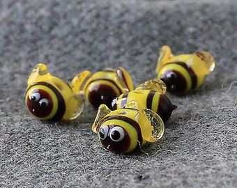Lampwork Glass Bees Beads, Set of 3 Small Glass Bees Beads, Handmade Glass Lampwork Bees Beads, Insect Beads, Honey Bee Beads, Bees beads