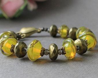 Lampwork Bracelet Golden Mirages, Lampwork Bracelet, Bracelet, Lampwork Glass Bracelet, Glass Lampwork Bracelet, Bracelet Lampwork, Lampwork