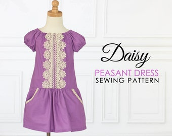 EASY Peasant dress pattern PDF, girls sewing pattern pdf, dress sewing pattern , dress pattern, short & long sleeve ,drop waist dress, DAISY