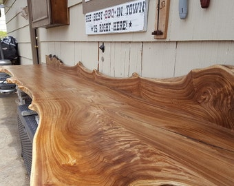 The Baller- GORGEOUS Indoor/Outdoor Live Edge Hardwood Slab Bars with Backsplashes Made From Siberian Elm or other wood species