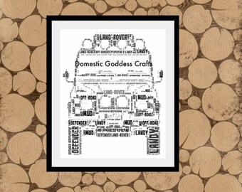 Land Rover Print, Personalised Defender Print, Land Rover Defender, Defender Word Art, Land Rover Word Collage