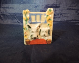 Vintage China Lusterware Puppy Dog Toothpick Holder, Japan