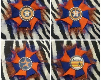 Sporty Bottlecap Flower Baseball Houston Astros Hair Bow on Lined Alligator Clip