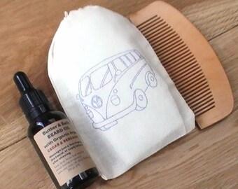 Beard Grooming Kit, Vegan Beard Oil Set, Comb, Natural Beard Oil, Gift for Him, Beard Conditioning Kit, Campervan Gift, Men's Grooming Set