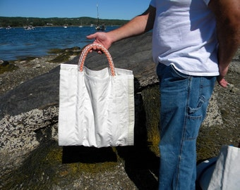 Custom Made to order Log Carrier from Recycled Sail one of a kind