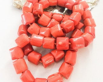Long Orange Bamboo Coral Necklace