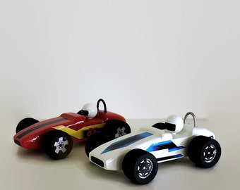 Wooden toy cars, set of two indy race cars