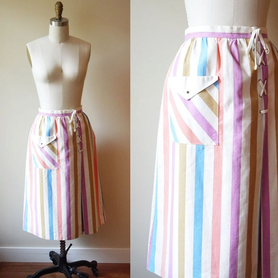 1970s stripe skirt // pockets // vintage skirt