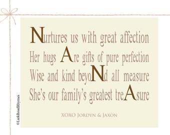 Nana Gifts Nana Decor Personalized Nana Gifts New Nana Gifts Nana Art Nana Print Gifts for Nana, 8x10 Paper Print